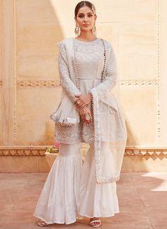 Silver-white heavy embroidered Gharara suit - All About Pakistani Bridal Dresses, Pakistani Dress Design, Pakistani Outfits, Indian Dresses, Pakistani Gharara, Lengha Choli, Anarkali, Indian Wedding Outfits, Indian Outfits