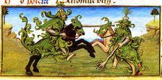 """Le 1er 'may' au Moyen Age, livre d'heures de Charles d'Angoulême enluminé vers 1490 en Angoumois par Robinet Testard. Paris BNF. Jeunes nobles se battant en duel avec une branche de """"may"""" en guise de lance. C'est l'illustration de la Fête du Feuillu (ou du Moussu) mais très rarment représentée dans les manuscrits: le 1° mai, les garçons se recouvraient de feuilles et de mousse en l'honneur du printemps et paradaient en cortège, passant de maisons en maisons en quête d'offrandes."""