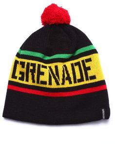 Grenade #Pom Stripe #Beanie Knit Hat Embroidered Logo One Size OSFM #Grenade #Beanie #rasta