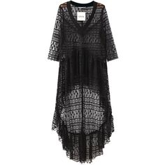 Chicnova Fashion Sheer High Low Beach Cover Up (€18) ❤ liked on Polyvore featuring swimwear, cover-ups, lace swimwear, swim cover up, see through swimwear, lace beach cover up and sheer cover up swimwear