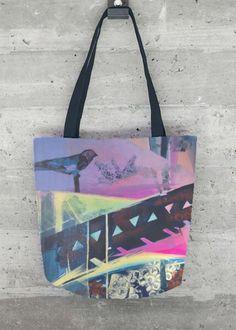 When fashion meets fine art, Tote Bag, Bird, Abstract, Fresh Colors, Fashion