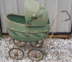 Vintage South Bend Toy Green Wicker Baby Carriage Buggy | eBay