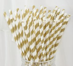 $10 - Paper Straws GOLD 60 Paper Straws in Golden Era Movie Party- Dinner Party- Weddings - Princess and Pirates