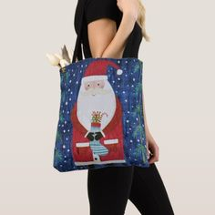Santa with Stocking Tote Bag - cat cats kitten kitty pet love pussy
