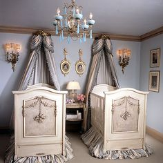 Just so you know, if I was a baby, this would be the room of my dreams...Bonne Nuit Cherubini Crib in Opulent Finish from PoshTots