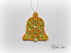 Christmas bell-quilled bell-ornament tree-quilling paper-paper bell