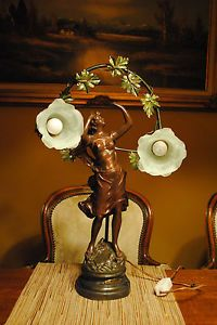 Art Nouveau French Newel Post Female w/2 Bohemian Satin Glass Lamp Shades,c.1900