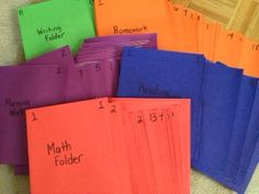 Using folders in the classroom.