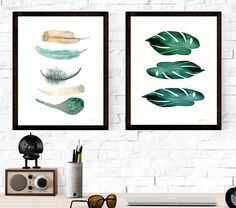 Set of feather and botanical plants wall art by TheClayPlay
