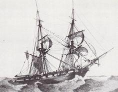 Brig in high seas