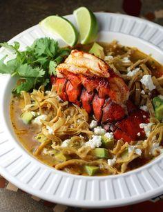 Lobster Tortilla Soup w/ avocado, feta, cilantro, lime