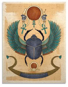 Egyptian Winged Scarab Art Print via Etsy