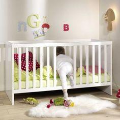 Babybett / Gitterbett / Kinderbett LUNA, Hochglanz weiß, umbaubar, 70x140cm
