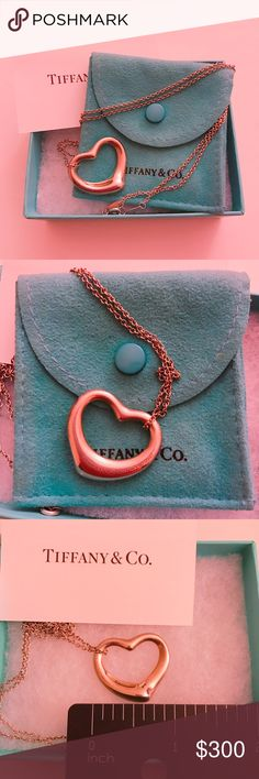 "Tiffany Open Heart Necklace Classic Tiffany's open heart design. 1"" wide on a 18"" chain. Tiffany & Co. Jewelry Necklaces"