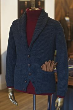 drakes-london:  Double Knit Cashmere Shawl Collar Cardigan Cashmere Roll Neck Handsewn Peccary Gloves  Pocketed.