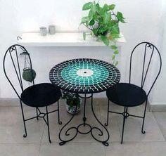 mesa de hierro forjado con venecitas 60 cm diámetro: