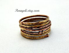 Wire wrapped stacking rings on Etsy, $18.00