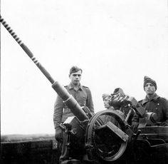 German anti-aircraft gunners near the 20-mm automatic anti-aircraft gun FlaK 38 (2 cm FlaK 38).