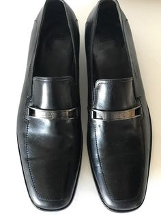 HUGO BOSS Men's Black Leather Dress Shoes Size 11.5 #HUGOBoss #LoafersSlipOns #Formal