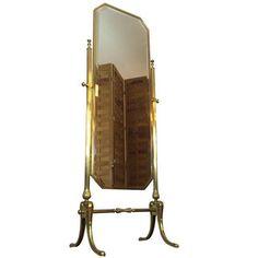 Vintage Italian Full Length Brass Standing Mirror (1,025 CAD ...