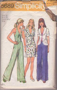 MOMSPatterns Vintage Sewing Patterns - Simplicity 5689 Vintage 70's Sewing Pattern HOT V Neck Bare Back Halter Top Vest, Wide Cuffed Pants, Shawl Collar Jacket, A-Line Short Skirt
