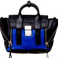 Cobalt and black embossed pashi 3.1 Phillip Lim