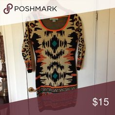 Flying Tomato dress Only worn once! Perfect for autumn. Cozy & warm.  Love the colors and the print Flying Tomato Dresses Long Sleeve