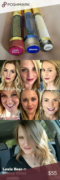Lexie Bear-y Lipsense Starter Kit Brand new! A Starter Kit includes one lip color, one Glossy Gloss, and one Oops Remover. A gorgeous lip color that lasts 4-18 hours when worn with the Glossy Gloss. It is waterproof, smudgeproof, and kissproof. Lexie Bear-y is a gorgeous purple color. Lipsense Makeup Lipstick