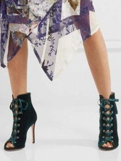 3349015de Black Suede Peep Toe Lace Up Detail Heeled Sandals - Choies.com