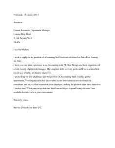 staff accountant cover letter samples