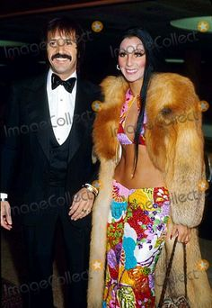 """Sonny and Cher look great together. Cher's coat is 'to die for"""". Cute Couple Halloween Costumes, I Got You Babe, Oscar Dresses, Cinema Actress, Vintage Fur, Vogue Magazine, Costume Design, Cher, Cute Couples"""