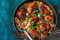 Sticky Chinese chicken and 'fried' rice cooked in the same pan in the oven? Yes sir, no stir, four plates full! Start this recipe a day ahead to maximise flavour.