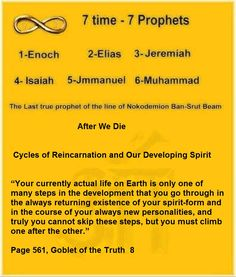 """After We Die Cycles of Reincarnation and Our Developing Spirit """"Your currently actual life on Earth is only one of many steps in the development that you go through in the always returning existence of your spirit-form and in the course of your always new personalities, and truly you cannot skip these steps, but you must climb one after the other."""" Page 561, Goblet of the Truth 8 Ban-Srut Beam - Last Prophet - Line of Nokodemion"""