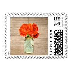 Country Rustic Mason Jar Flowers Wedding Stamps. Wanna make each letter a special delivery? Try to customize this great stamp template and put a personal touch on the envelope. Just click the image to get started!