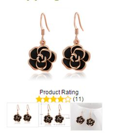 2 Rose Gold Plated/Black Earrings Flower Shape Free Shipping #jewellery #onlineshopping http://krat.im/6fj