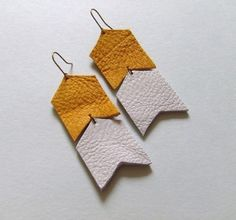 Leather chevron earrings by Dinosaur Toes, $11