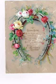 Vintage Gunther's Candies A Christmas Greeting Trade Card Horseshoe  W/Roses