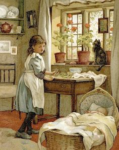 'The little Mother' - c1900 - 'A young girl watches over a baby in the basket'   Geraniums on the windowsill  l  ID: 2RGL033s2RGL033   Retrograph UK (definitely not by Carl Larsson!).
