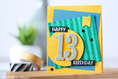 Teenage Birthday Card using Stampin' Up! Large Numbers, Crushed Curry, Dapper Denim and Emerald Envy Birthday Cards For Boys, Birthday Numbers, Handmade Birthday Cards, Handmade Cards, Teenage Girl Birthday, Boy Birthday, Birthday Ideas, Happy 13th Birthday, Birthday Greetings