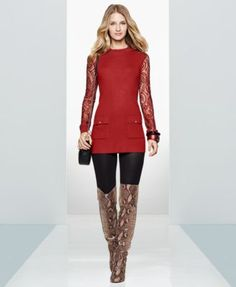 INC International Concepts Lace-Sleeve Tunic Sweater, Only at Macy's | macys.com