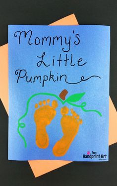 "Mommy's Little Pumpkin – Baby's Halloween Keepsake Idea - - Document Baby's Halloween with a darling footprint pumpkin craft featuring the cute Halloween saying, ""Mommy's Little Pumpkin. Daycare Crafts, Classroom Crafts, Baby Crafts, Preschool Crafts, Daycare Rooms, Classroom Resources, Halloween Crafts For Kids, Halloween Activities, Halloween Art"