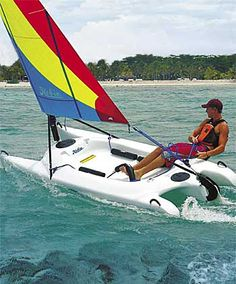 Hobie Bravo sailing catamaran- looks like Dennis - and considering - it might even be him