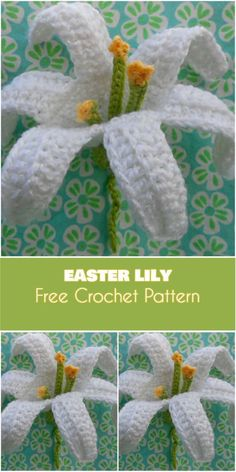 Easter Lily. Symbol of Hope [Free Crochet Pattern . November Lily Crochet Flower Free Pattern. #CrochetPatterns