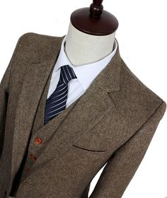 Brown Classic Tweed Custom Made Men Slim Fit Suit Blazers Retro Wedding Suit for men 3 Piece
