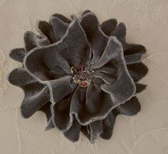 Silver Gray Velvet Ribbon Rose Fabric Sequin Beaded Flower Applique Hat Corsage Pin Baby Pageant Bridal Hair Accessory Applique