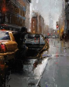 """Daily Paintworks - """"TAXI NYC"""" by Victor Bauer"""