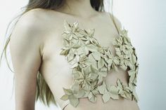 Origami bustier   Sustainable Fashion- bustier made up of hand crafted origami flowers recycled from used brown paper envelopes.