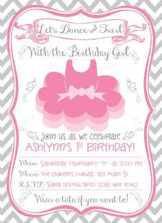Ballerina Tutu Birthday Invitation by RAWkonversations on Etsy, $12.00