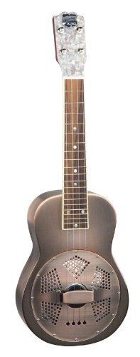 """Recording King RU-998-M Metal Body Resonator Ukulele, Champagne Matte by Recording King. $399.99. Made from an entirely European bell brass body and featuring a 6"""" hand-spun Continental cone, this resonator ukulele adds a unique twist to the classic Hawaiian instrument. This rare model features a mahogany neck, rosewood fretboard, Champion-style friction tuners, pearloid headstock overlay and a bell brass coverplate.  These excellent features give this traditiona..."""