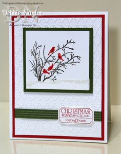 Unfrogettable Stamping | Week 2 of 2014 Twelve Weeks of Quick & Easy Christmas Card Ideas featuring Serene Silhouettes and That's the Ticket stamp sets.  http://unfrogettablestamping.typepad.com/my_weblog/2014/10/week-2-of-my-twelve-weeks-of-quick-easy-christmas-card-ideas.html